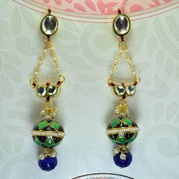 Meenakari Ball Earrring with Eye Kundan Blue Black