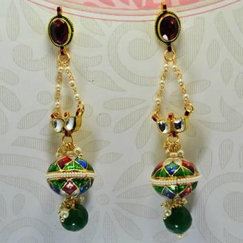 Meenakari Ball Earrring with Eye Kundan Blue Red Green