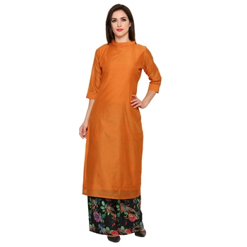 orange  cotton silk stitched kurti