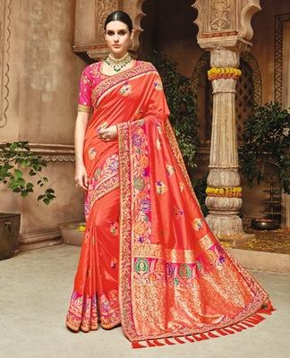 dac43d65bba190 Rust woven silk saree with blouse - Monjolika - 2265656