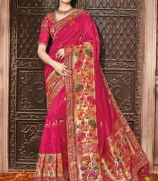 Buy Magenta woven silk saree with blouse silk-saree online