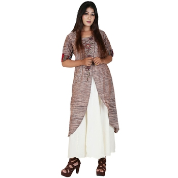 Brown plain jute cotton kurtas-and-kurtis