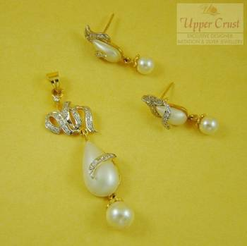Pearl CZ Pendent Earring Jewelley Set