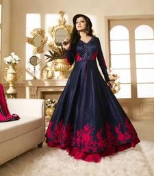 Buy Blue embroidered bhagalpuri cotton salwar semi-stitched-salwar-suit online