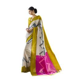 Buy multicolor printed cotton silk saree with blouse