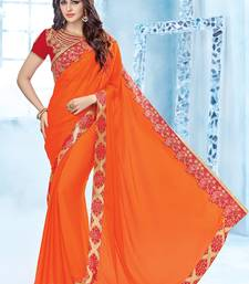 Buy orange patch and  floral design and  stone crepe saree with blouse great-indian-saree-festival online