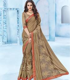 Buy brown stone and  floral design and  cut paste  Chiffon saree with blouse wedding-saree online