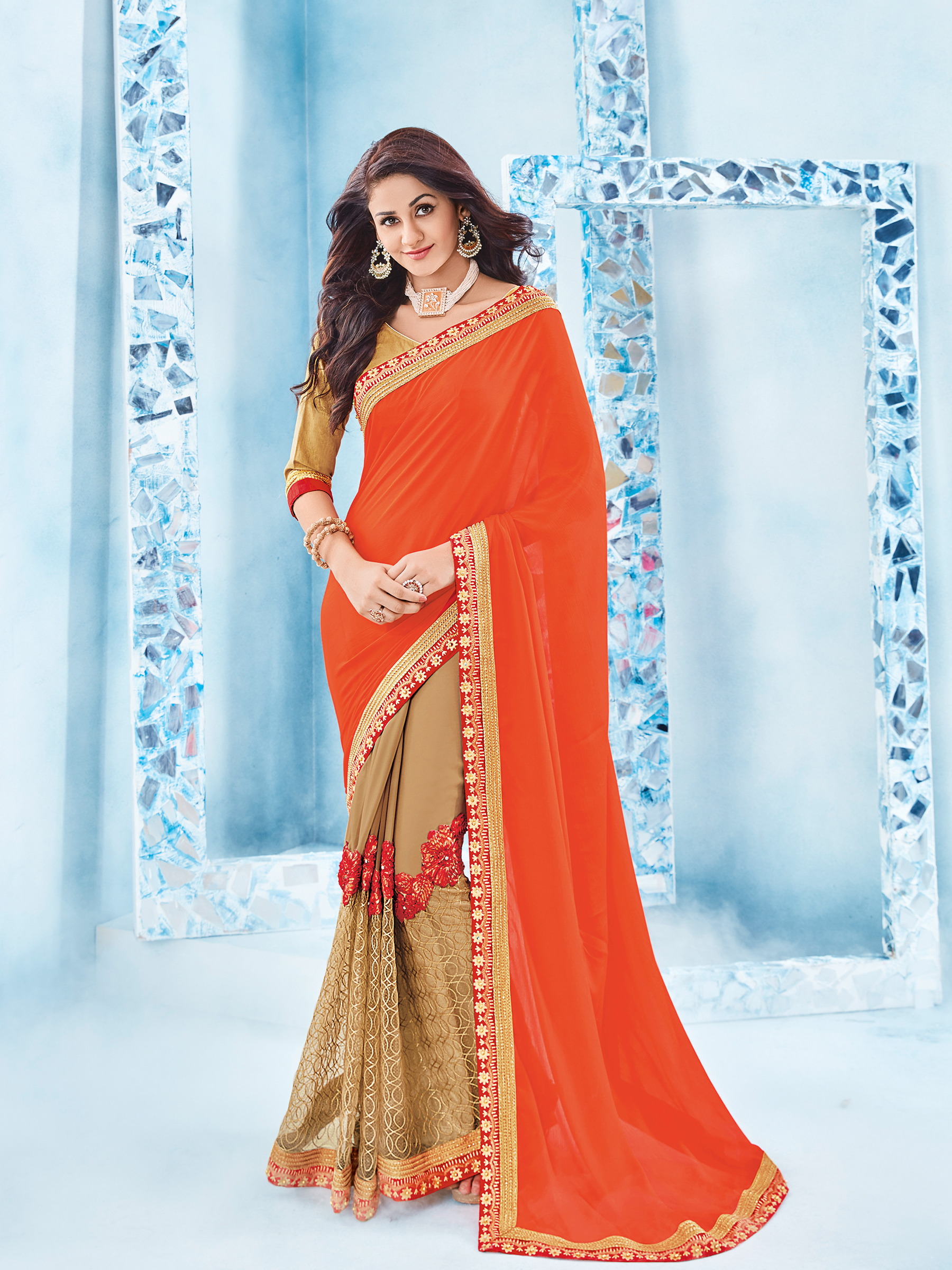 e2c16f8c6a8 orange and beige designer floral design and stone chinnon and georgette  saree with blouse - Indian Women Fashions Pvt Ltd - 2269553