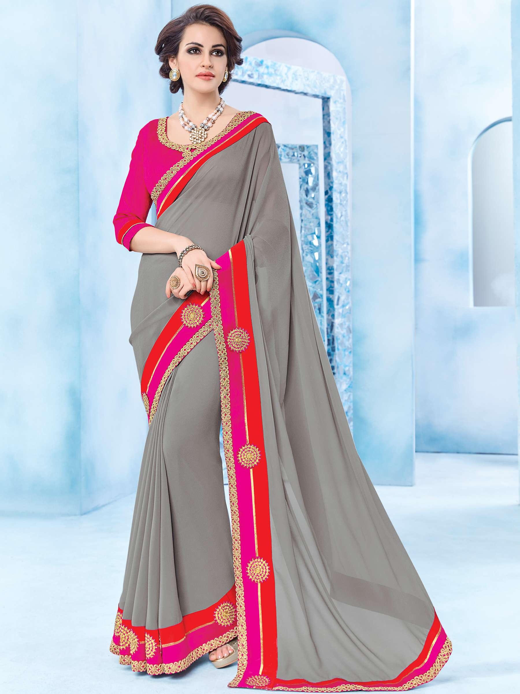 336311ffb2d gray patch and floral design georgette saree with blouse - Indian Women  Fashions Pvt Ltd - 2269561