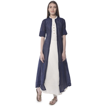 Blue plain silk kurtas-and-kurtis
