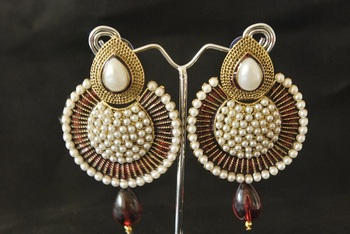 Maroon colour Pearl Dangler with Meena work