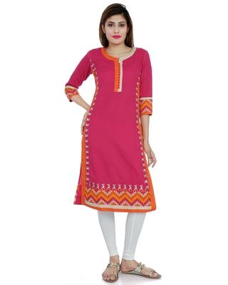 Pink embroidered khadi stitched embroidered-kurtis