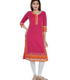 Pink embroidered khadi stitched embroidered-kurtis
