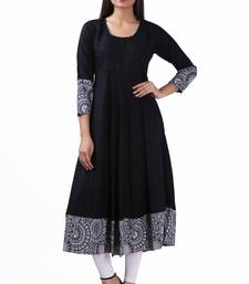 Black plain viscose rayon stitched ethnic-kurtis