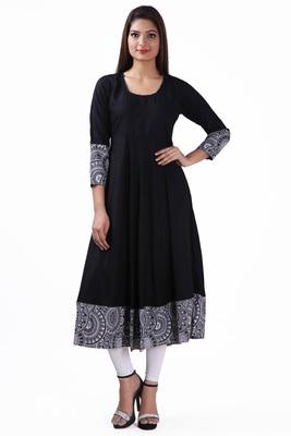 Black plain viscose stitched rayon ethnic-kurtis