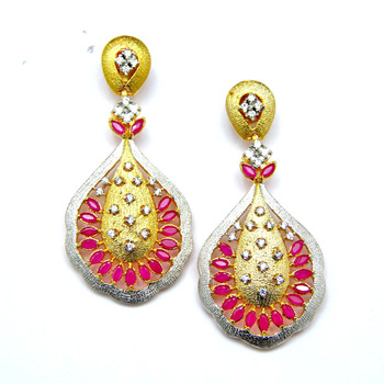 Dazzling Gold Ruby and Diamond Earrings