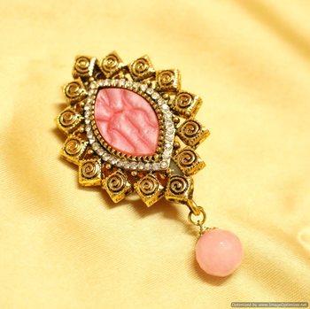 Beautiful Pink parabolic polki Brooch