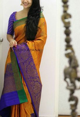 78f74d59df Multicolor printed banarasi silk saree with blouse - Shree Impex ...