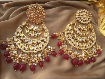 Red Kundan Chandbali Earrings