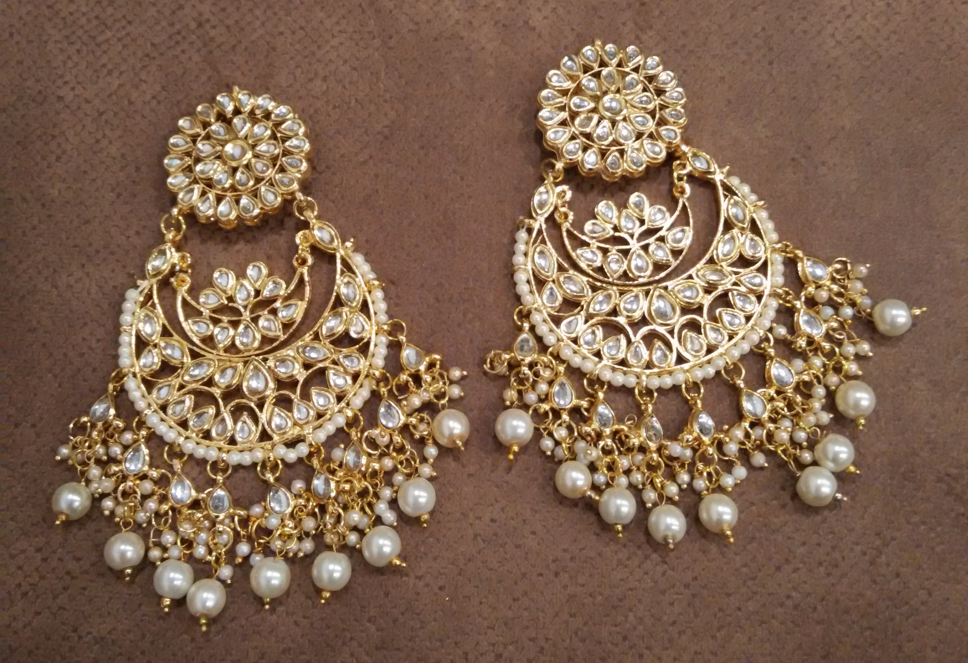White Kundan Chandbali Earrings Dazzle Up 2271738
