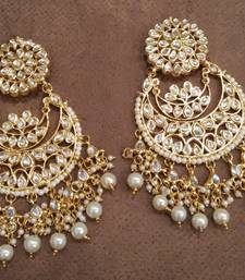 Buy White Kundan Chandbali Earrings Earring online