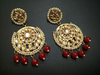 Aisha Red Kundan Chandbali Earrings