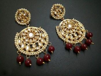 Aisha Maroon Kundan Chandbali Earrings