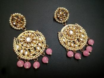 Aisha Pink Kundan Chandbali Earrings
