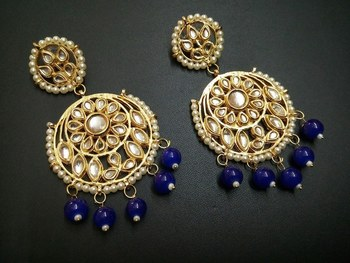 Aisha Blue Kundan Chandbali Earrings