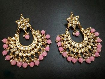Madiha Pink Kundan Chandbali