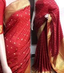 Buy Multicolor printed synthetic saree with blouse tussar-silk-saree online