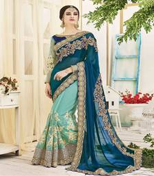 Buy Cyan embroidered net saree with blouse bridal-saree online