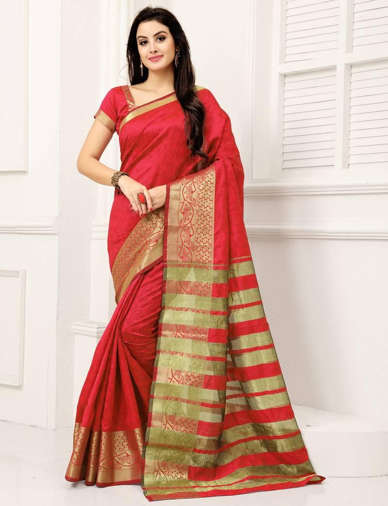 732e7691bc Red woven banarasi silk saree with blouse - Monjolika - 2272774