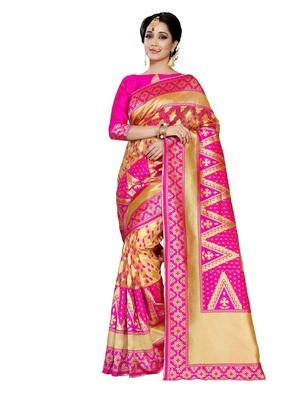 Pink woven banarasi art silk saree with blouse