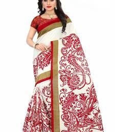 Buy White printed bhagalpuri silk saree with blouse bhagalpuri-silk-saree online