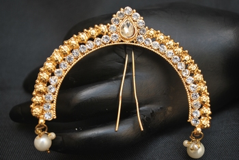 Peshwa Bajirao inspired white stone studded juda pin