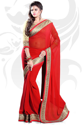 Red Faux Georgette Embroidered Saree With Blouse