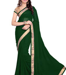 Green Faux Georgette Embroidered Saree With Blouse