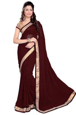 Maroon Faux Georgette Embroidered Saree With Blouse