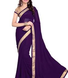 Buy Purple Faux Georgette Embroidered Saree With Blouse light-weight-saree online