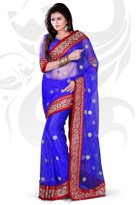 Blue Net Embroidered Saree With Blouse