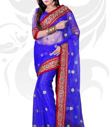 Buy Blue Net Embroidered Saree With Blouse traditional-saree online