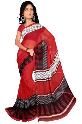Red printed faux georgette saree with blouse