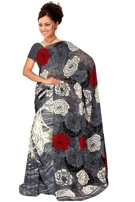 Light multicolor printed georgette saree with blouse