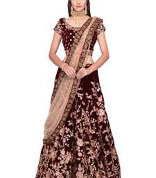 Buy  Maroon embroidered semi velvet semi stitched lehenga choli material with peach net dupatta lehenga-choli online