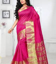 Buy Pink hand woven georgette saree with blouse printed-saree online
