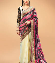 Buy Cream and Multi colour Georgette Printed Saree with White Blouse Piece georgette-saree online
