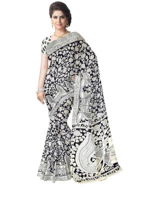 GiftPiper Kalamkari Saree in Cotton-Black & White