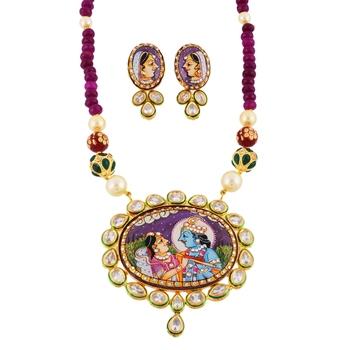 Multicolor  Hand Painted Kundan Work Tanjore Art Necklace Set