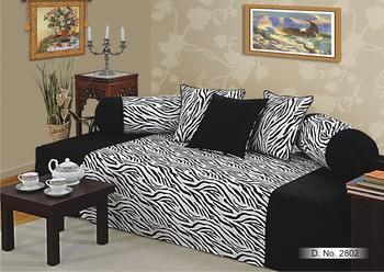 Swayam Black and White Colour Zebra Pattern Diwan Set with Bolster and Cushion Covers (Set of 6)